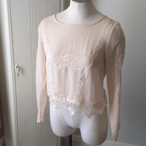 H&M sheer blush lace long sleeve top 6